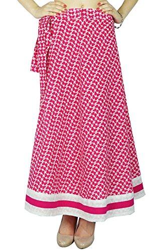 Phagun rversible Robe Coton magique Wrap Jupe longue Sari Sarong Off Blanc And Magenta