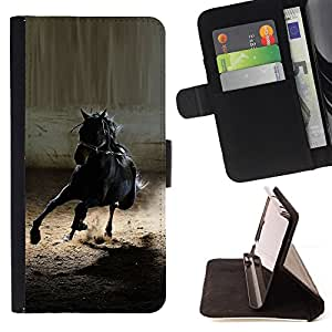 For HTC ONE A9 Mustang Horse Black Wild Stallion Gallop Style PU Leather Case Wallet Flip Stand Flap Closure Cover