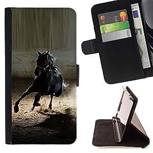 BullDog Case - FOR/Sony Xperia M2 / - / mustang horse black wild stallion gallop /- Monedero de cuero de la PU Llevar cubierta de la caja con el ID Credit Card Slots Flip funda de cuer