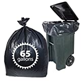Black Plastic 65 Gallon Trash Bags By Primode - 50 Count Heavy Duty Garbage Bags For Indoor Or Outdoor Use *MADE IN THE USA*