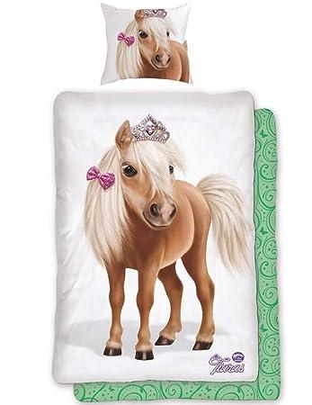 4bb2b263b919ae Tiaras Animal Club Bettwäsche Pferd Pony Krone Renforcé, Größe:135x200 cm + 80x80  cm