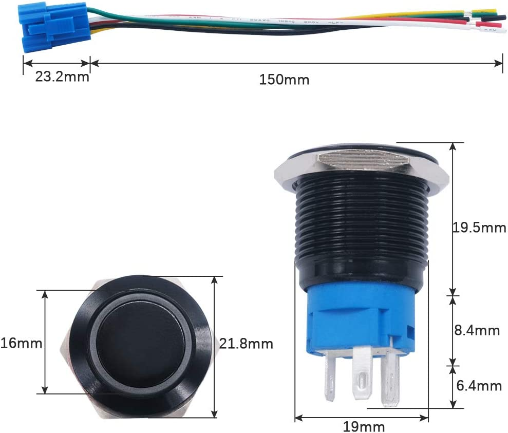 mxuteuk 19mm Momentary Push Button Switch 1 NO 1 NC SPDT ON//OFF Black Metal Shell with 12v Green LED Ring With Wire Socket Plug Suitable for 3//4 Mounting Hole M-19-O-B-G