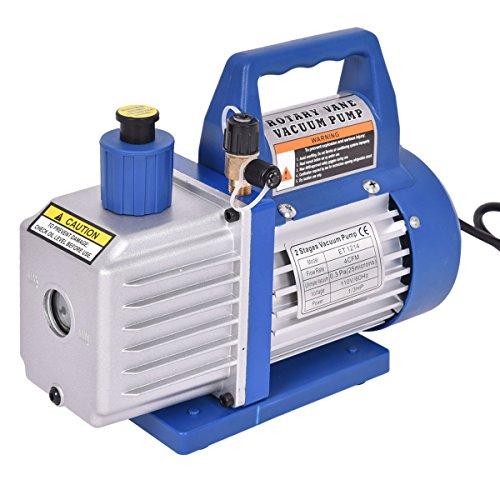 Goplus Dual 2 Stage 1/3HP 4CFM Rotary Vane Deep Vacuum Pump HVAC AC Air Tool R410a R134