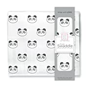 SwaddleDesigns Cotton Muslin Swaddle Blanket, Black Panda