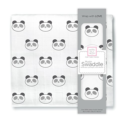 SwaddleDesigns Cotton Muslin Swaddle Blanket, Black Panda]()