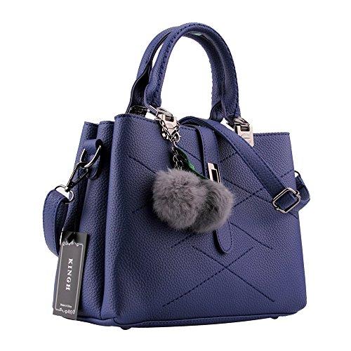 Women Handbag,Women Bag, KINGH Zip Closure Tote Vintage Shoulder Bag PU Leather 116 Deep Blue