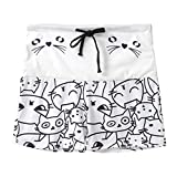 White Leggings for Women, Capri Leggings Women,Women's Casual Cat Print Drawstring Shorts Leggings