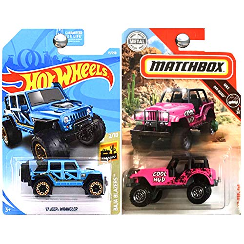 Hot Wheels Matchbox 1960 Jeep 4x4 Pink and 2017 Jeep Wrangler Blue Set of 2 ()