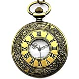 CSMARTE Roman Numerals Antique Bronze Tone Half Hunter White Dial Modern Pocket Watch with Chain