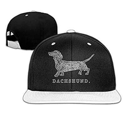 Bonvzu-9 Funny Dachshund Doxen Weiner Word Art Dog Owner Flat Adjustable Baseball Cap Snapback Dad Caps For Men/Women