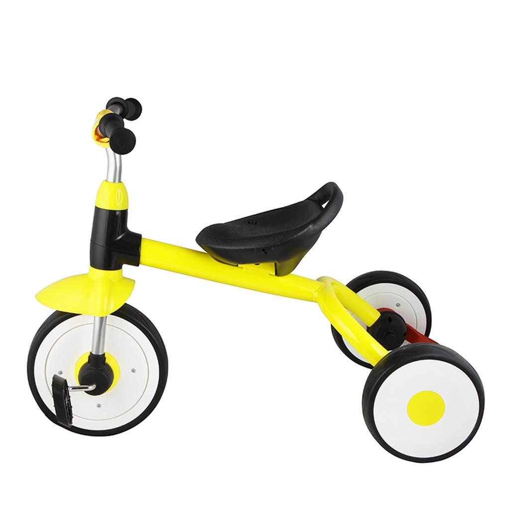 子供の三輪車の赤ちゃんキャリッジ高炭素鋼の自転車2歳から5歳の赤ちゃんペダル三輪車黄色   B07GL9W38R