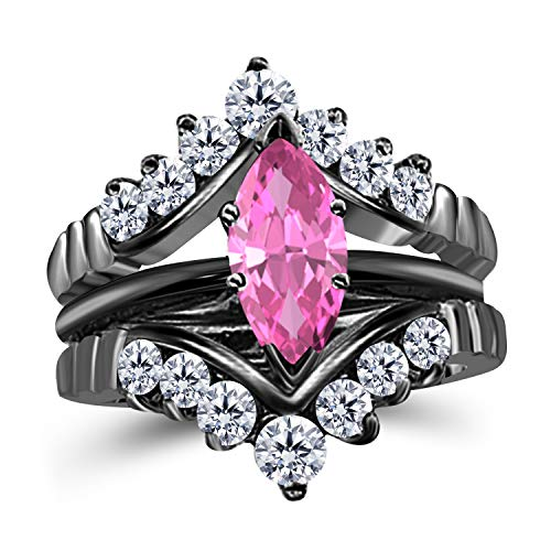 (Gems and Jewels 0.75 Ct Marquise Solitaire Engagement Wedding Ring Band Set Enhancer Pink Sapphire 14k Black Gold Plated Alloy)
