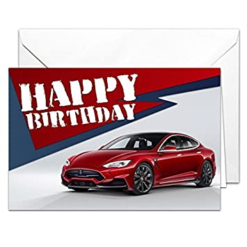 Tesla Model 5 Birthday Card GLOSSY Large A5 With Envelope For Boyfriend Husband Dad Brother Amazoncouk Office Products