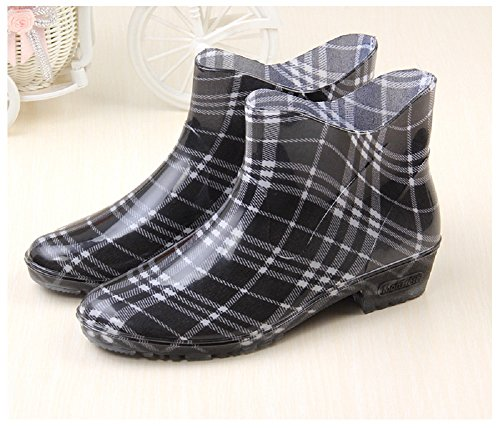 Hanxue Garden Boots Waterproof Shoes Rain Womens Black rOxq1Zr0