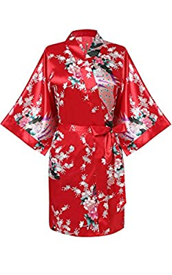 Elever Women Loose Peacock and Blossoms Printed Above Knee Kimono Robe