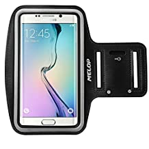 "MELOP Armband (5.1"") for Samsung Galaxy S3 S4 S5 S6 S6 edge, A3 A5 (2017) J1 J3V On5, ALCATEL OneTouch Idol 3, ZTE Maven, Sweatproof Soft Sports Arm band with Key Holder Card Cash Pocket - Black"