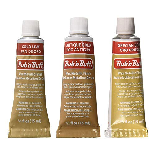 Amaco Rub 'N Buff Wax Metallic Finish, 3 Color Gold Assortment (Gold Leaf, Antique Gold, Grecian Gold) (Rub Antique)