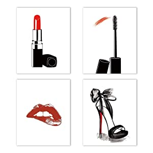 "Fashion Makeup Art Print Set of 4(8""X10"") Painting for Women Gifts Poster Pictures,Fashion Lipstick,Mascara,High Heels, Fashion Wall Art Canvas Poster for Girls Room Decor"