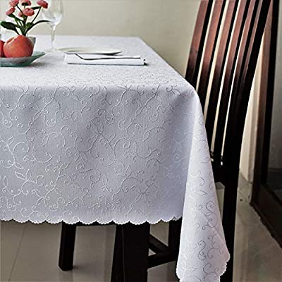 "Stain Resistant Turkish White Tablecloth Polyester Table Linen, Rectangular, Square, Round, Washes Easily, Non Iron - Thanksgiving, Christmas, Dinner, Easter, Wedding (White, Square 70""x70"") - TURKISH QUALITY - IDEAL FOR EVERY OCCASION and as GIFT: The tablecloth will be an amazing addition to every event decoration and every family dinner. Use these amazing table linens as Wedding Tablecloth, Easter Tablecloth, Thanksgiving Tablecloth, Christmas Tablecloth, New Year Eve Dinner Tablecloth and other parties tablecloth or any other holiday dinner tablecloth. This Beautiful White Jacquard Tablecloth will look amazing on your Christmas dinner table or Thanksgiving dinner table! Choose a suitable SIZE AND FORM. The polyester Turkish sparkling tablecloths can be bought in 12 variants. Round - 50"", 60"", 70'', 84"", square - 40""x40"" (topper), 52""х52"", 60""x60"", 70""x70"", and rectangular - 52""х70"", 60""х84"", 60""х104"", 60""х120"" and 60""х140"". You'll be able to choose a luxurious and ideal tablecloth for your dining table. Spill-proof. DECORATE your table with snowflake tablecloth. Holiday table linen for Thanksgiving, Christmas, weddings, or any family party or occasion. A really festive table is impossible without an elegant tablecloth. The tablecloth is heavy-duty and made for regular use. - tablecloths, kitchen-dining-room-table-linens, kitchen-dining-room - 51w2PcAUjBL. SS400  -"