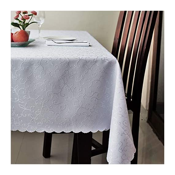 "Stain Resistant Turkish White Tablecloth Polyester Table Cover - Rectangular Square Round Washes Easily Non Iron - Thanksgiving Christmas Dinner Wedding New Year Eve Gift (White, Square 70""x70"") - IMPORTANT NOTICE: Dear Customers! This Tablecloth has WHITE color. We have also the same fabric and pattern but IVORY, BLUE, RED, BLACK color, please enter ""AHOLTA"" in the Amazon search string to find it. Turkish Quality. The Turkish dining table tablecloths from AHOLTA DESIGN are made in Turkey from a high-quality material. This polyester is spot-proof, easy to wash and doesn't need ironing (please check reviews of listing). The round, square, and rectangle tablecloths are machine washable. Choose a suitable SIZE AND FORM. The polyester Turkish sparkling tablecloths can be bought in 12 variants. Round - 50"", 60"", 70'', 84"", square - 40""x40"" (topper), 52""х52"", 60""x60"", 70""x70"", and rectangular - 52""х70"", 60""х84"", 60""х104"", 60""х120"" and 60""х140"". You'll be able to choose a luxurious and ideal tablecloth for your dining table. Spill-proof. DECORATE your table with snowflake tablecloth. Holiday table linen for Thanksgiving, Christmas, weddings, or any family party or occasion. A really festive table is impossible without an elegant tablecloth. The tablecloth is heavy-duty and made for regular use. - tablecloths, kitchen-dining-room-table-linens, kitchen-dining-room - 51w2PcAUjBL. SS570  -"