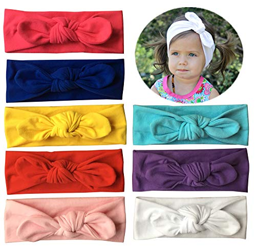 Qandsweet Baby Hairband Girl Elastic Hair Accessories Headbands (8 Pack Solid Bunny Ears) ()