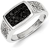 Sterling Silver Rhodium Plated Black and White Rough Diamond Mens Ring - Ring Size Options Range: R to V