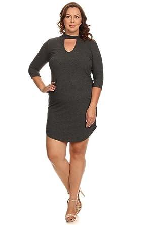 a81f379d620f Vibe Sportswear 3/4 Sleeve Ribbed Curved Hem Choker Bodycon Dress ...