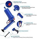 Air Power Drain Blaster gun, High Pressure Powerful Manual sink Plunger Opener cleaner pump for Bath Toilets, Bathroom, Shower, kitchen Clogged Pipe Bathtub(Blue)