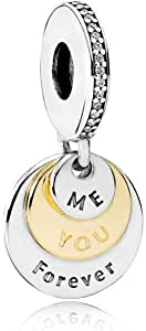 Pandora Women's You and Me Forever Dangle Charm - 791979CZ, Sterling Silver