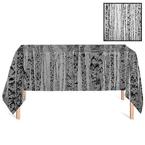 SATVSHOP Table Cover Kitchen Dinning Tabletop /24x24 Square,Lake House High Winter Trunks Leafless Nude Raw Birch Timber Trees Forest Environment Image Grey.for Wedding/Banquet/Restaurant. -