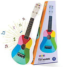 Play22 Kids Guitar Ukulele 17 Inch – 4 Strings Wooden Guitar Kids Ukulele Guitar Musical Instrument Musical Toy Learning…