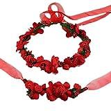 Coolwife Flower Crown Wedding Hair Wreath Floral Headband Garland Wrist Band Set -  Red -