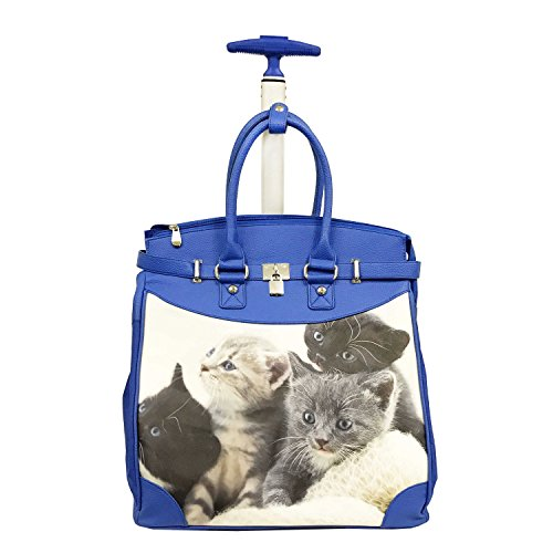 Cute Baby Kittens Themed Carry On Rolling Foldable Laptop Tote, Softside Playful Furry Cats Animals Prints, Multi Compartment, Fashionable, Checkpoint Friendly Soft Travel Bag, Blue, Ivory, Size 14'' by S & E