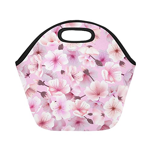 InterestPrint Japanese Cherry Blossom Pink Reusable Insulated Neoprene Lunch Tote Bag Cooler 11.93