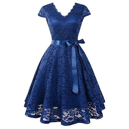 iLUGU Women Ball Party Lace Panel V-Neck Short Sleeve Vintage Waist Lace Dress ()