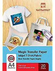Hierro sobre papel de transferencia para tela claras, blancas y transparente (Magic Paper) de Raimarket | 20 hojas | Transferencia de hierro A4 para inyección de tinta en papel / camisetas