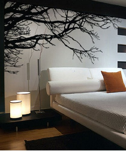 Large Tree Wall Decal Sticker - Semi-Gloss Black Tree Branches, 44in Tall X 100in Wide, Left To Right. Removable, No Paint Needed, Tree Branch Wall Stencil The Easy Way. by Stickerbrand (Image #4)