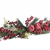 Factory Direct Craft Artificial Sparkling Festive Apple and Pine Holiday Swag for Home Decor, and Embellishing