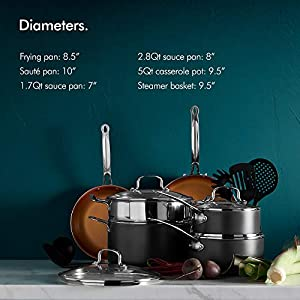VonShef Copper Cookware Set, Copper Colored Aluminium Pan and Utensil Set Full Kitchen Bundle, Non-Stick, Easy Clean - 15 Piece Set