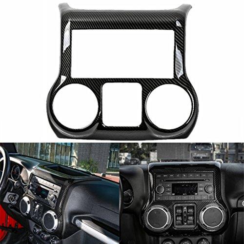 (YOCTM Black Carbon Fiber Car Interior Center Control Panel Cover Trim ABS Frame Decoration Car Styling Fit for Jeep Wrangler 2011-2017 (Black))