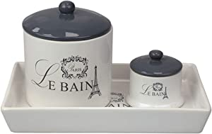 Home Basics, White Le Bain Paris 2 Piece Canister Set with Coordinating Ceramic Vanity Tray