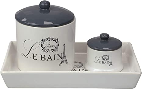 Home Basics White Le Bain Paris 2 Piece Canister Set With Coordinating Ceramic Vanity Tray Home Kitchen