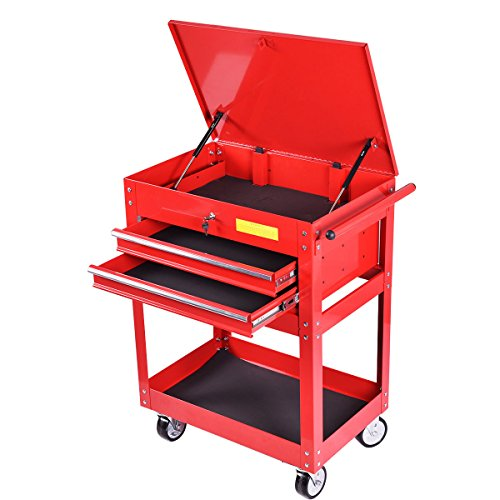 Goplus Metal Rolling Tool Cart 2 Drawer Tool Chest Cabinet Storage Tool Box Portable Mechanic Lock (Roller Metal Chest Tool)
