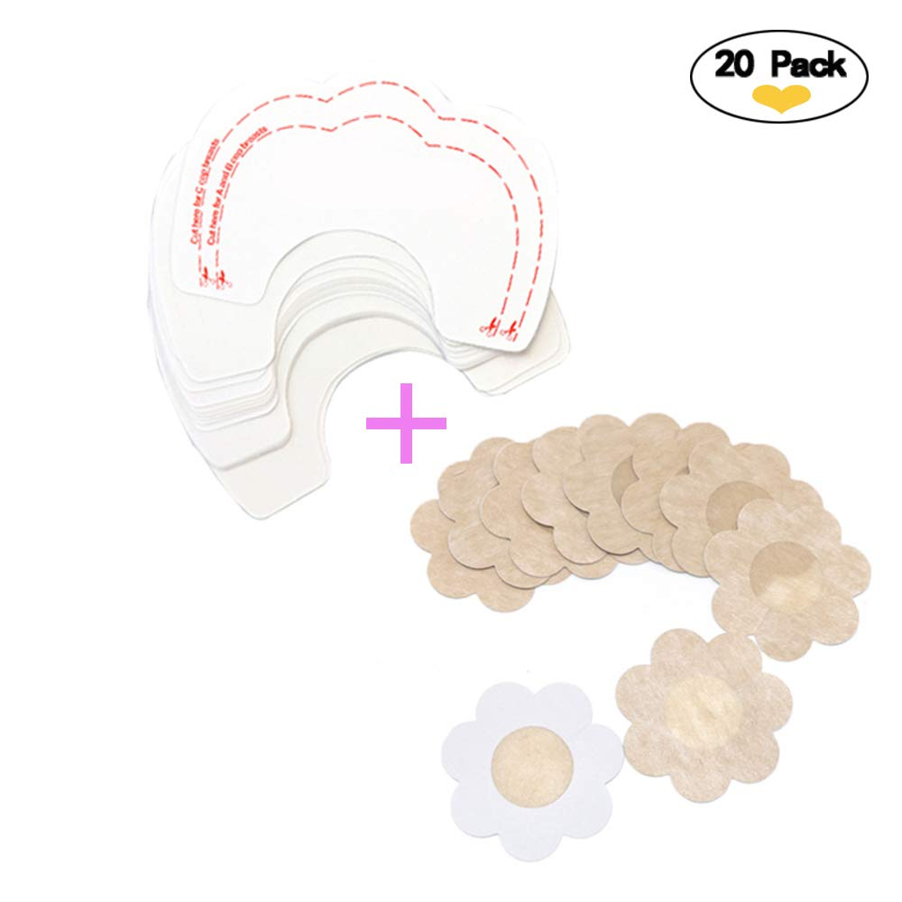 5 Pair Breast Lift Tape & 5 Pair Nipple Covers Concealer Breast Invisible Backless Bra Instant Enhancer Boob Tit Tape Cups A-D(10 Breast Lift Tapes+ 10 Petal Satin Nipple Covers)