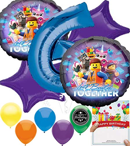 LEGO Movie 2 Party Supplies Balloon Decoration Bundle for (6th Birthday)]()