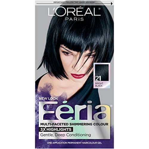 L'Oréal Paris Feria Multi-Faceted Shimmering Permanent Hair Color, 21 Starry Night (Bright Black), 1 kit Hair Dye (Best Professional Blue Black Hair Dye)