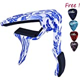 Sound Harbor MA-12 Capo ,Guitar Capo - Musicians Recommended Capo for Acoustic Electric - Perfect for Banjo and Ukulele - Lightweight Aluminum (Blue and White Porcelain Color)