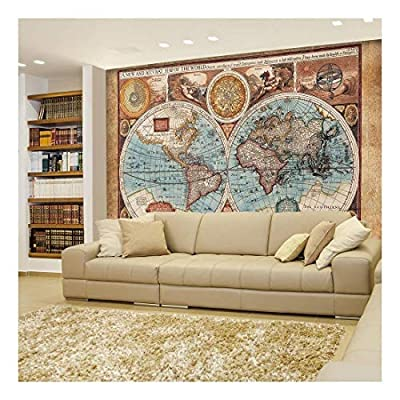 Antique Illustrated Map of The World Two Sphere...