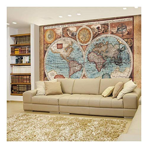 Antique Illustrated Map of The World Two Sphere Projection Historical Depiction Wall Mural