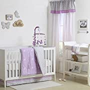 Purple and Grey Woodland Theme 4 Piece Baby Crib Bedding Set by The Peanut Shell